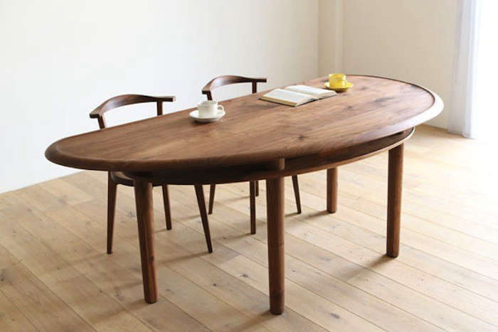 Above: The Legere Bean Dining Table Is Made Of Walnut In The Shape Of A  Bean (or A Slightly Askew Half Moon). Below The Tabletop, A Second Layer Of  Walnut ...