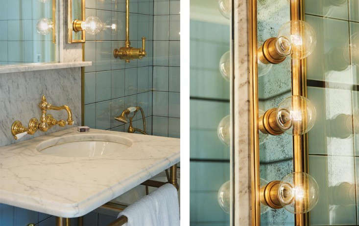New Above A penthouse bathroom with off center Waterworks sink markedly bigger than the marble sinks in most rooms and distressed mirrored lighting