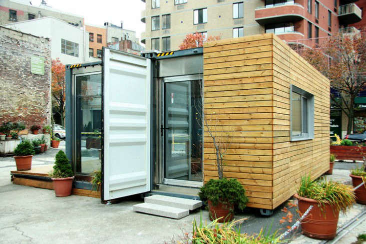 Prefab houses from MEKA (Modular, Environmental, Kinetic, Assembly) made from steel shipping containers, cedar wood paneling, double-glazed argon-filled windows, a bamboo interior, and slate bathroom; four different design options range from $40,000 to $135,000.