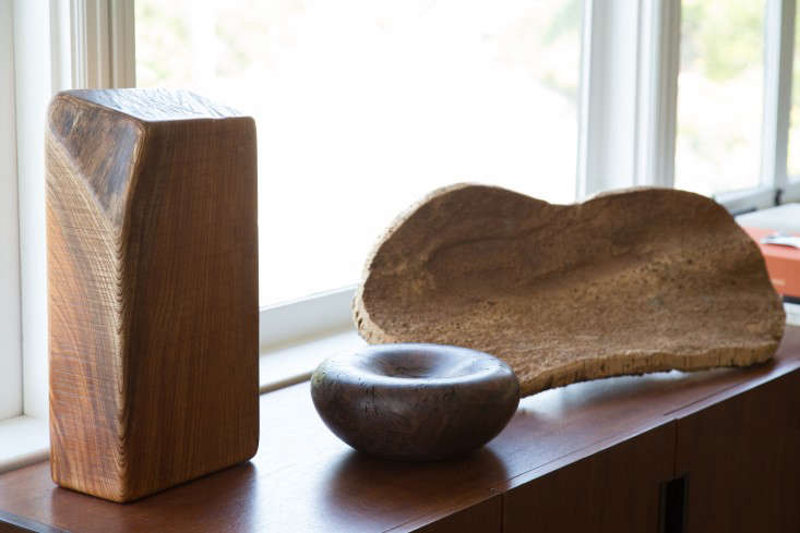A wooden threesome: sculptures by Hideki Takayama and Alma Allen, and a piece of cork—a souvenir from a trip to Corsica.