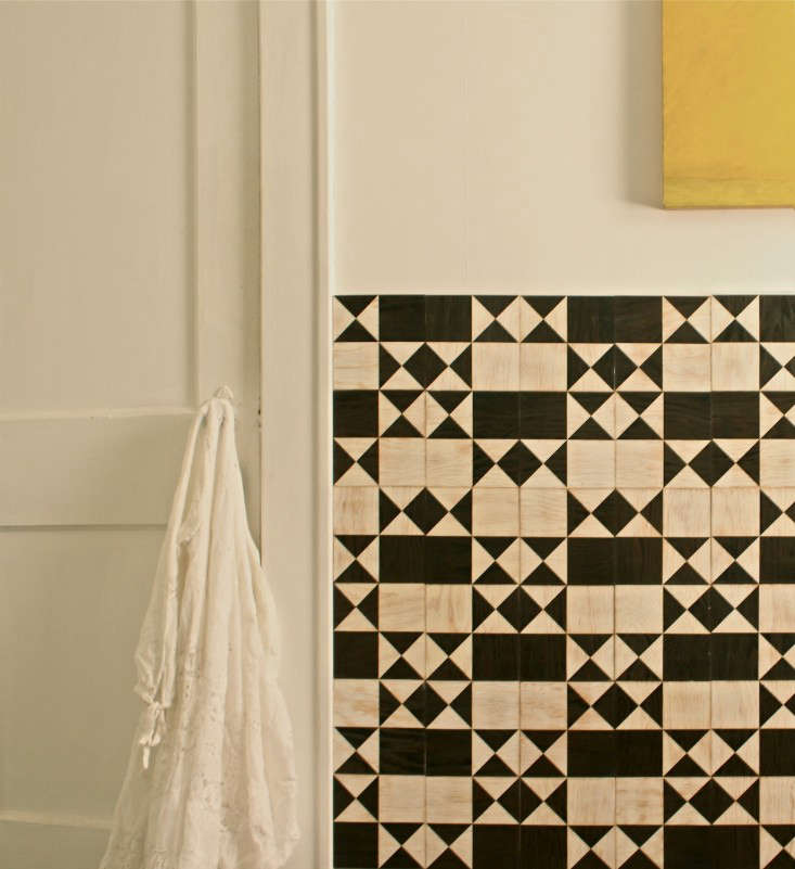 For tired walls or ugly tile, invest in removable tiles that can be stuck or snapped on (and travel with you when you go). We like these Tiles for Commitment Phobes, shown here in a bathroom in a polyurethane finish (for use in moist areas).
