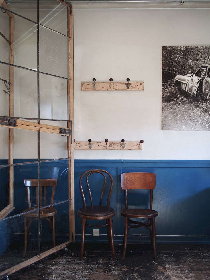 Above: The Moulding In The Front Of The Restaurant Is Painted In A Rich  Blue.