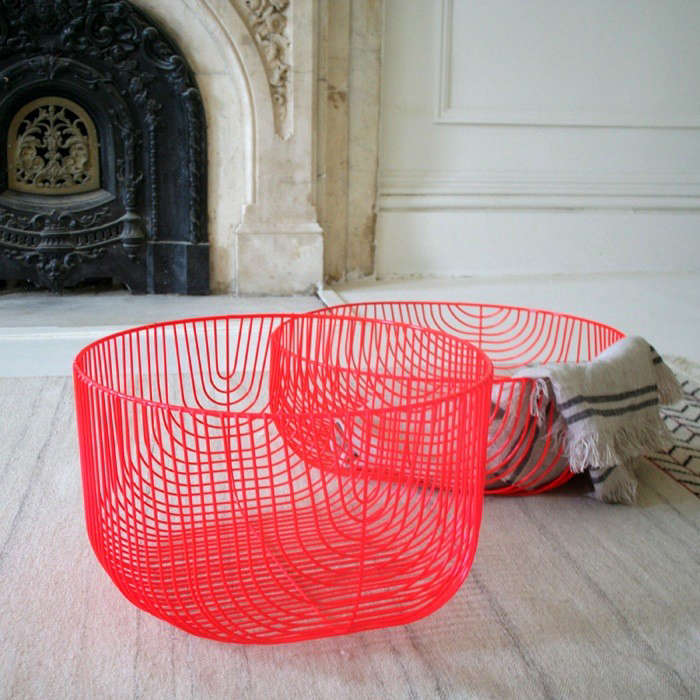 Bon The Oversized Baskets Are $250 Each From A+R Store In LA; Shown Here In  Bright Red.