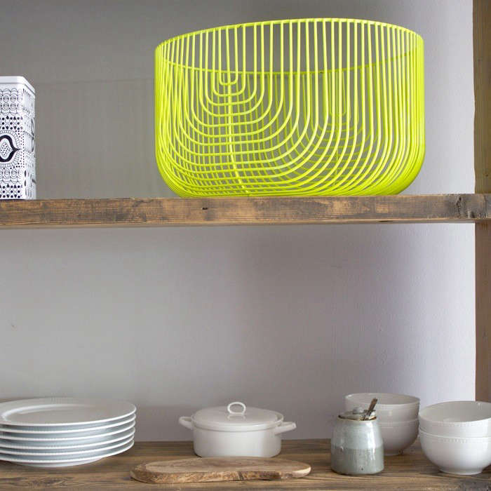 Above: The Lemon Yellow Oversized Basket In A Wide Size Fits Nicely On Open  Shelving In The Kitchen.