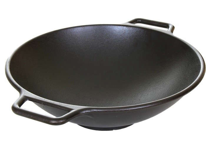 Cast Iron Wok Is A Pre Seasoned Flat Bottom With Maple Stick Handle On One Side And Small Grab The Other 43 12 At Atg S