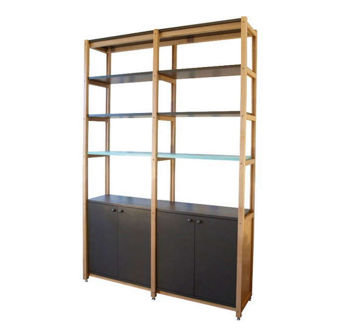 High Low Wooden Bookcase With Cabinets