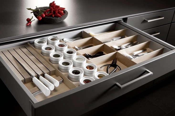 Mise en place kitchen tool drawer organizers remodelista a tailormade storage drawer with sections for knives flatware spices and other tools from workwithnaturefo
