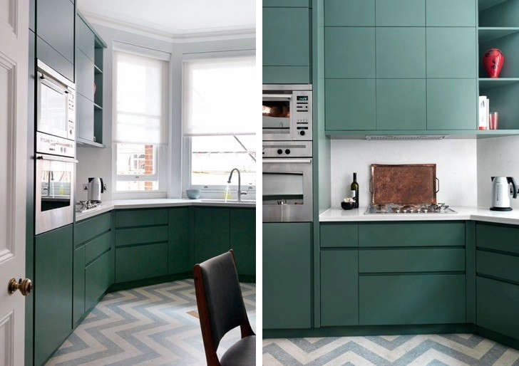 UK Designer Mark Smith Used Gray And White Zigzag Marbled Linoleum Flooring  From London