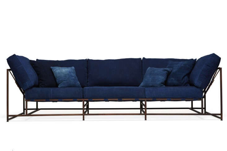 Above: The Stephen Kenn X Simon Miller Sofa Is Upholstered In Hand Dyed  Indigo Cotton Canvas And Has A Copper Plated Frame; $6,900.