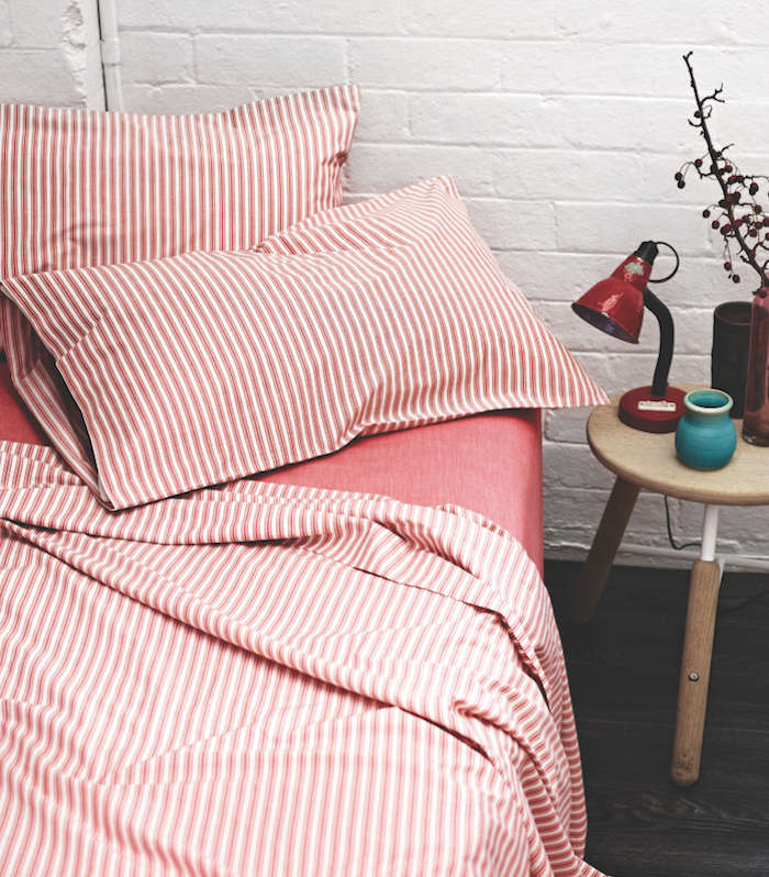 Nice Ticking Stripe Sheets from Aura Red