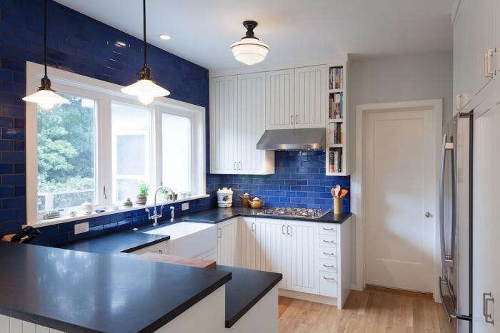 Merveilleux In The Remodel Of This U Shaped Kitchen In Portland, Oregon, Opal Blue