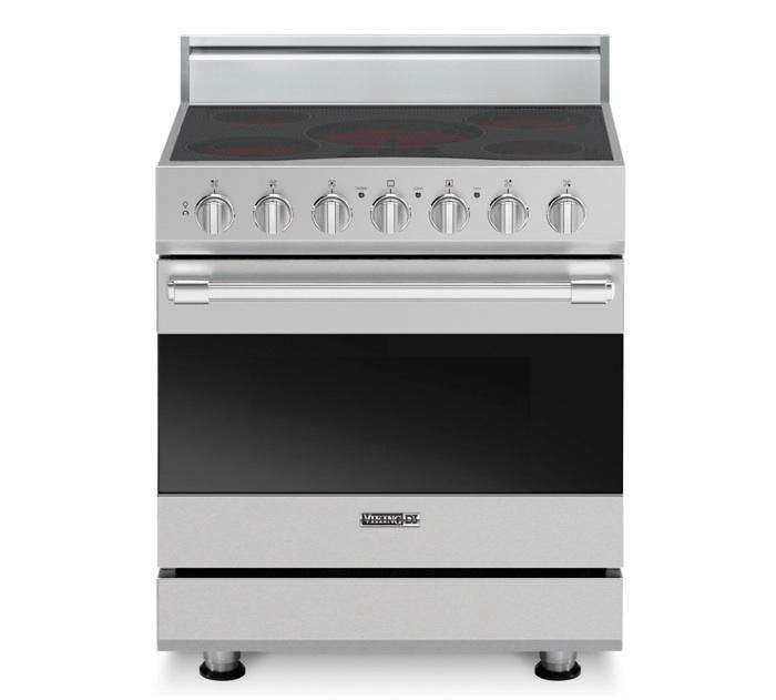 Above The Viking D3 Series 30 Inch Freestanding Electric Range Has Five Surface Elements That Utilize Ribbon Technology For Rapid Heating Reach