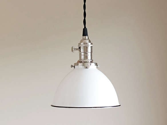 Pendant light fixture white vintage industrial porcelain enamel dome shade