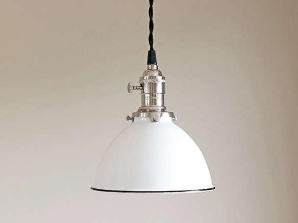 Pendant Light Fixture White Vintage Industrial Porcelain Enamel Dome ...