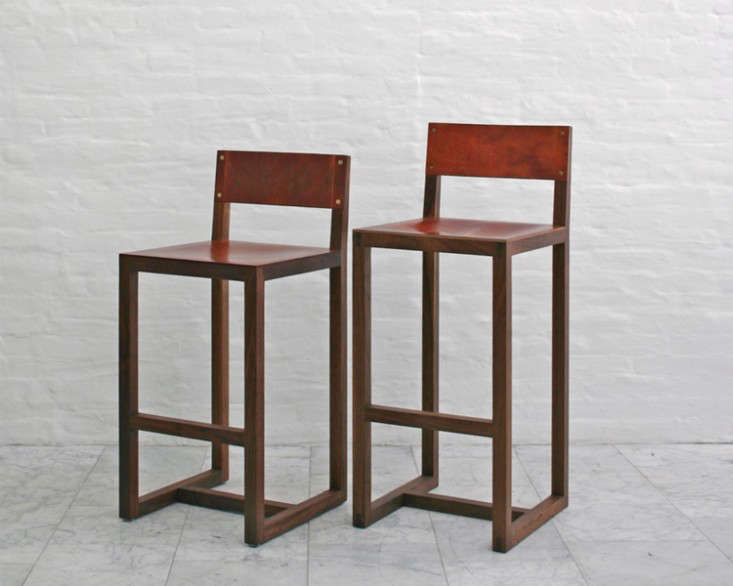 Above: BDDWu0027s Square Guest Stool Has A Solid Wood Frame (walnut, White Oak,  Maple, Or Cherry) And A Distressed Leather Seat And Back In Natural Mulled  ...
