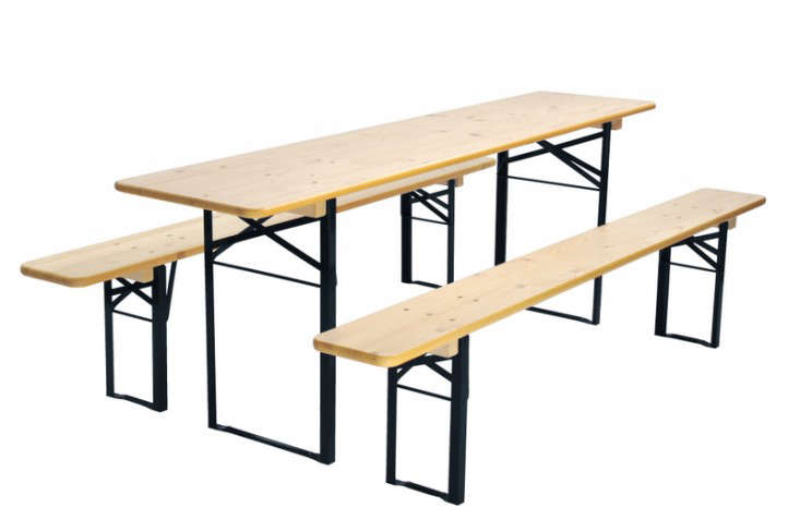 Above: The Long And Narrow Biergarten Folding Wood Table Has Black Metal  Legs And Comes With Benches; $429 At Beer Garden Furniture.