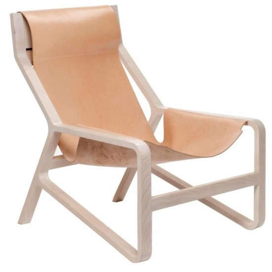 Above The Toro Lounge Chair From Blu Dot Features A Solid Natural Beech Wood Frame And Leather Sling Available In Or Black 1 099 Y