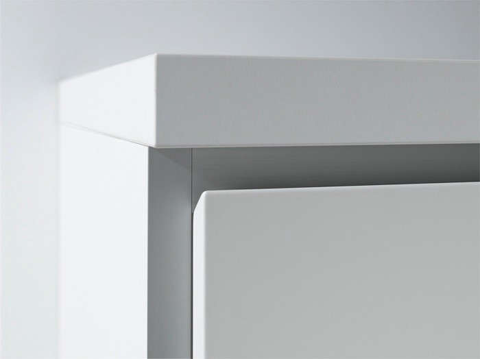 A detail of the German-made Bulthaup b1 drawers with an angled recessed grip. The b1 features birch interiors and Alpine White lacquered exteriors (it's the high-end company's least expensive offering).