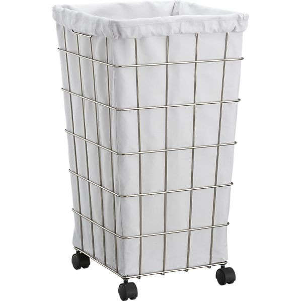 Above The Tapered Wire Hamper With White Liner Set Includes A Canvas Drawstring Closure And Carrying Strap 59 95 From Crate Barrel