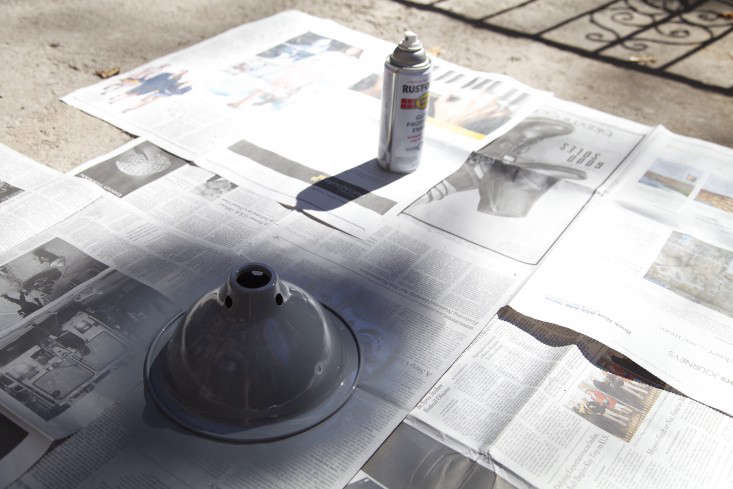 Step 3: In a well-ventilated area, spray the exterior of the lampshade with a coat of paint. Allow it to dry before adding a second coat.