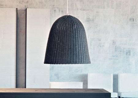 High Low Black Rattan Pendant Light