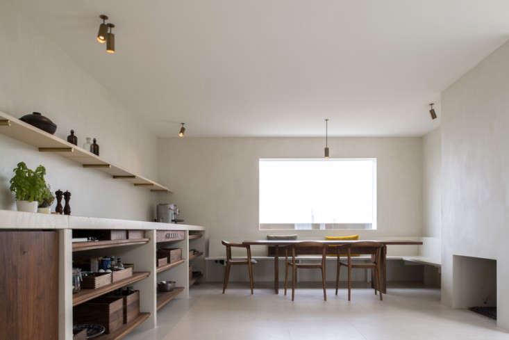 Belgian architect Hans Verstuyft opted for open shelving in a kitchen in Antwerp; see more at Sober Luxury in Downtown Antwerp.
