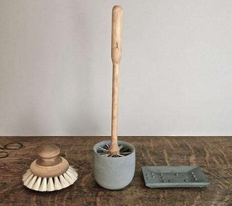 above swedish made iris hantverks bath accessories are available from olmay home in los angeles l to r the bath brush is 36 the toilet brush with
