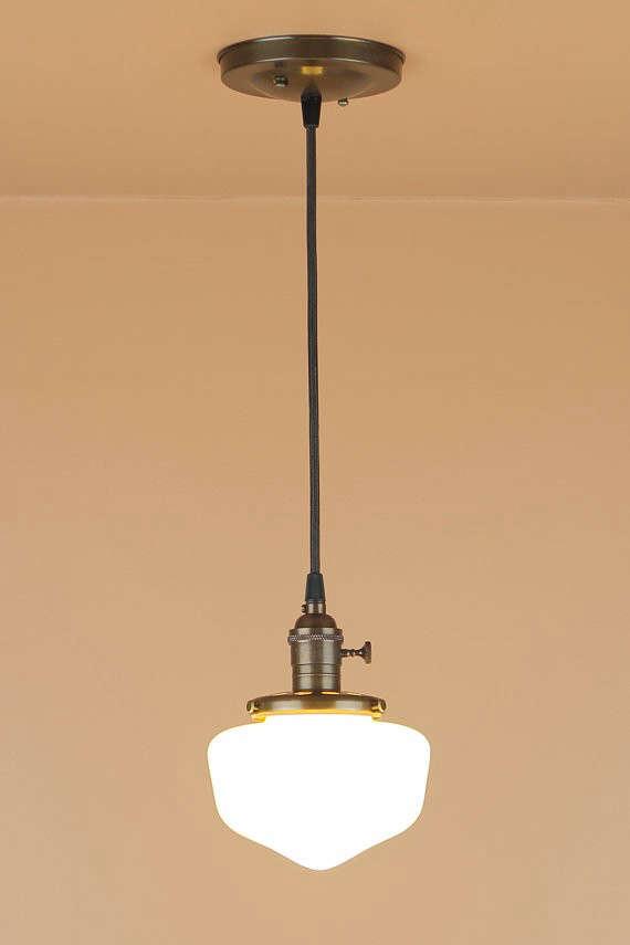 Pendant Lighting W Mini School House Globe