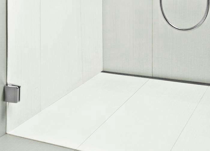 Lovely Above: Infinity Linear Shower Drains Are Placed Along The Shower Wall Or  Entrance. Unlike Center Drains Which Require The Shower Floor To Be Pitched  In Four ...