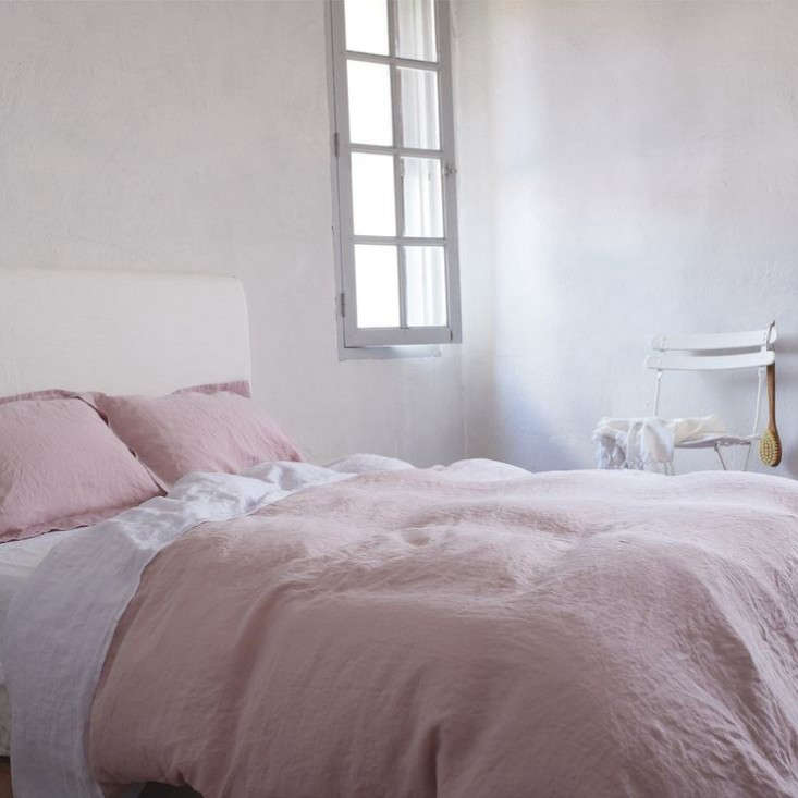 pink linen cover rose dusty washed duvet