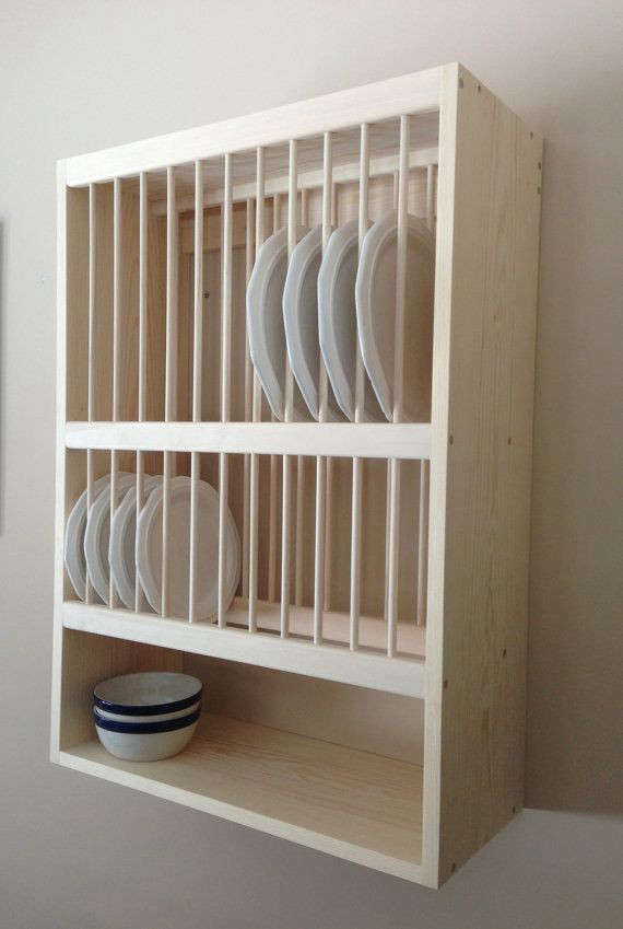 & Wall Mounted Plate Rack With Shelf