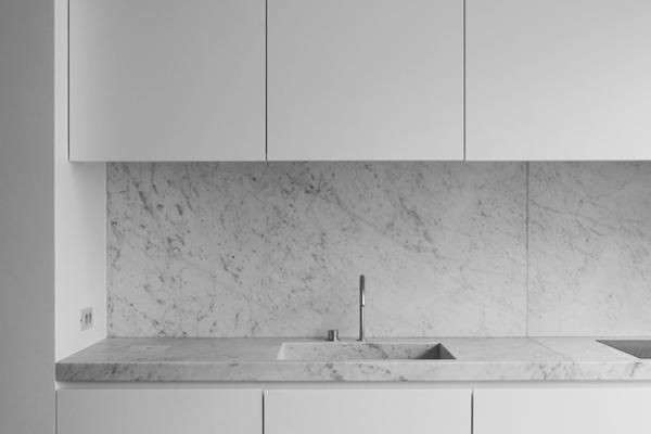 Above: An Integrated Carrara Marble Sink In The JR Loft In Brussels By  Nicolas Schuybroek.