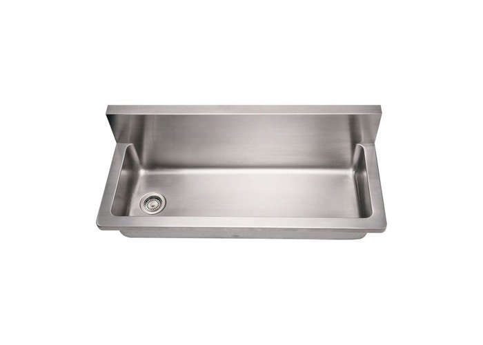 Above: The Brushed Stainless Wall Mount Noah Commercial Utility Sink By  Whitehaus Comes With An Offset Drain And An Undercoat Covering  Sound Deadening Pads; ...
