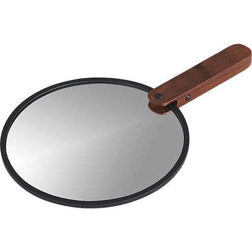 hand mirror. Above: The Reflection Hand Mirror Is Rimmed In Matte Black Metal And Has A  Sheesham Wood Handle; $19.95 From CB2. Hand Mirror G
