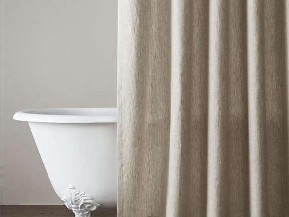 Vintage Washed Belgian Linen Shower Curtain