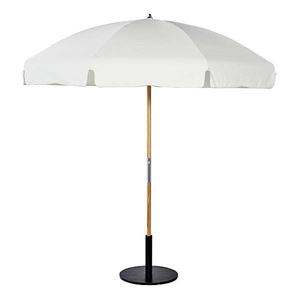 Fresh Above The Outdoor Market Umbrella from Serena u Lily is made of all weather Sunbrella with a solid wood pole