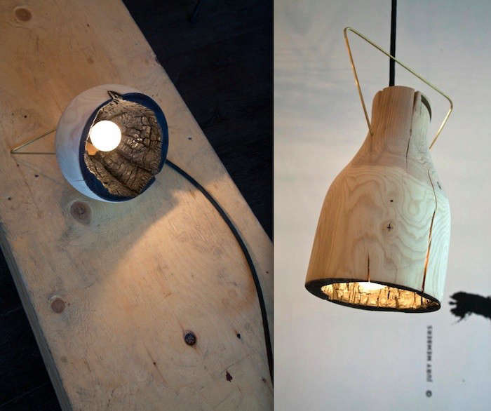 The Fire Within A Wood Pendant Light With Charred