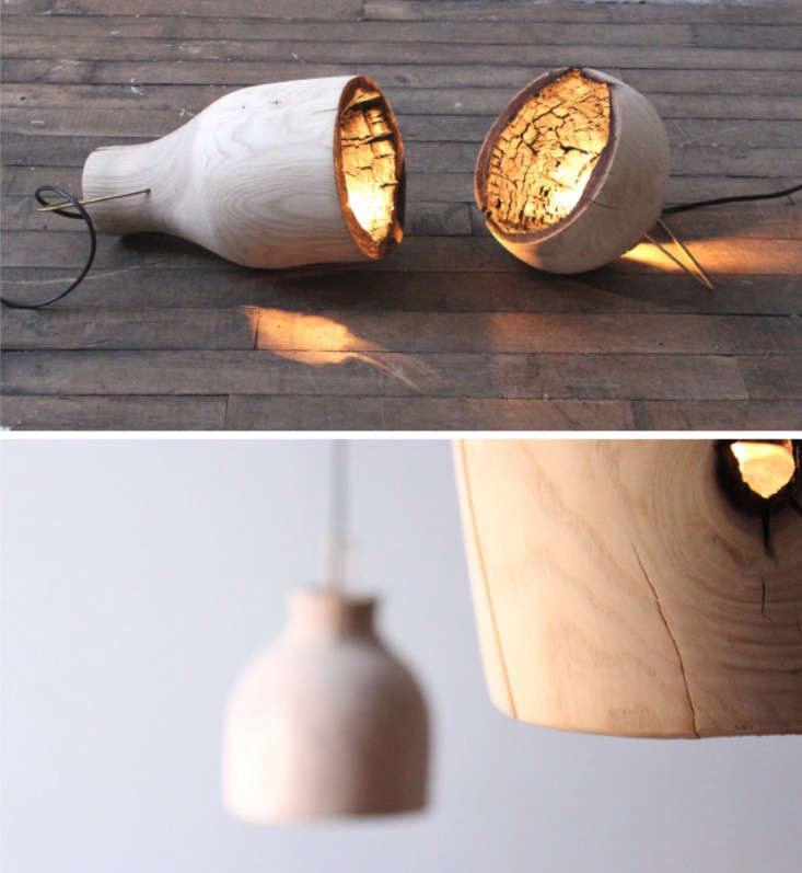 The Fire Within: A Wood Pendant Light with Charred Interior