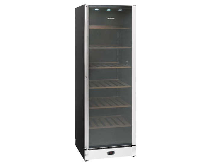 above the smeg classic aesthetic wine cooler holds 115 bottles or 198 bottles facing front to back its glass door has an antiuvray tint - Uline Wine Cooler