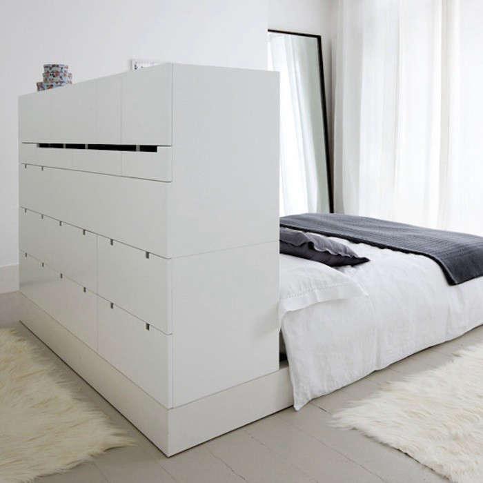 High Low Clutter Eliminating Storage Headboard Remodelista Brimnes Bed