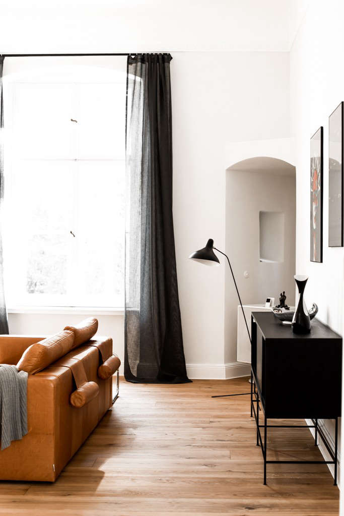 Charcoal Curtains Are Saved From Being Too Severe Thanks To Sheer Linen All In