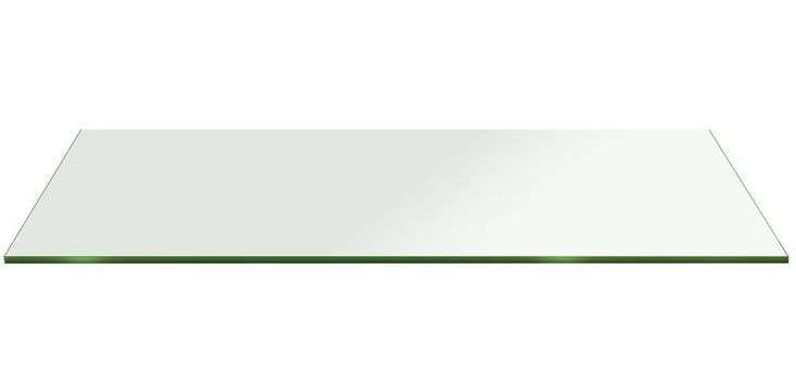 Rectangle Glass:15 X 28 In. 1/2 In. Thick Flat Edge Tempered Radius Corner