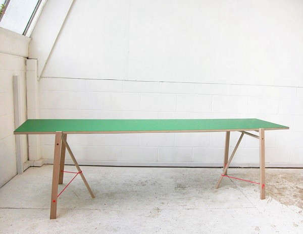 above spanishborn londonbased tomas alonso has come up with a stylish folding table made from beech laminated plywood and sailing rope