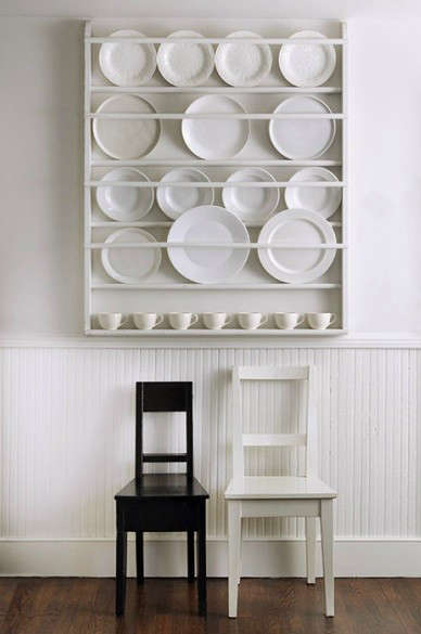 Above A plate rack in the H&tons home of designer Tricia Foley. For something similar consider the Decorative Plate Display Rack ($195) from Etsy seller ... : wall rack for plates - pezcame.com