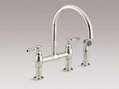 Parq Two Hole Deck Mount Bridge Kitchen Sink Faucet