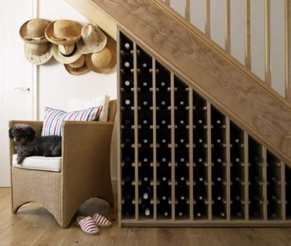 Staircase Remodel: Waterfall Cascade Wood Wine Rack
