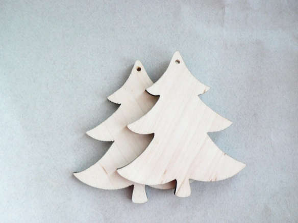 unfinished wooden christmas tree