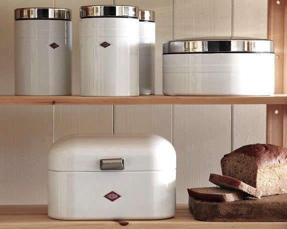 Superior Above: From Venerable German Company Wesco, The Wesco Grandy Bread Box  (bottom Shelf) Is Available In Red For $79.95 At Williams Sonoma.