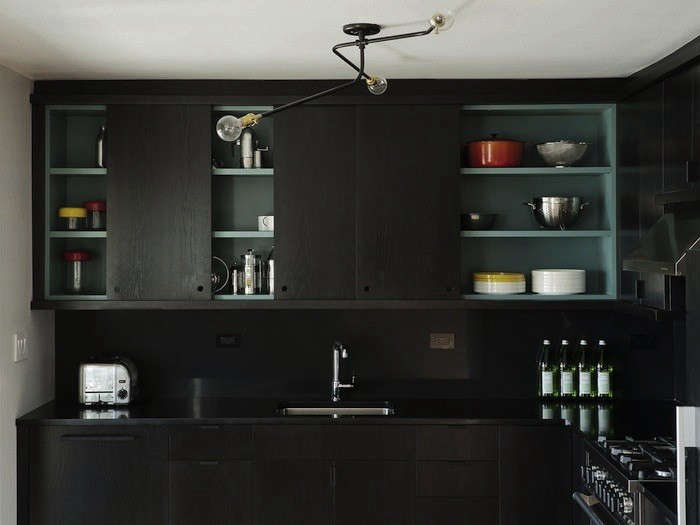 A Kitchen Designed By Brooklyn Based Workstead Features Black Cabinetry And  Backsplash. Photograph By