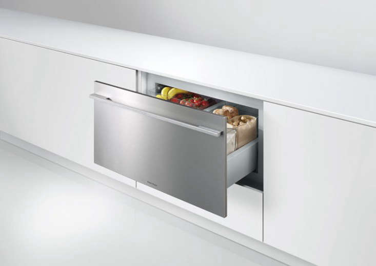 New Zealand company Fisher & Paykel's refrigerators win our prize for aesthetics (I own a counter-depth Fisher & Paykel ActiveSmart fridge that I love). The brand's CoolDrawer Multi-Temperature Refrigerator Drawer changes from refrigerator to freezer at the press of a button; $2,499 from AJ Madison. Go to Fisher & Paykel for full details.